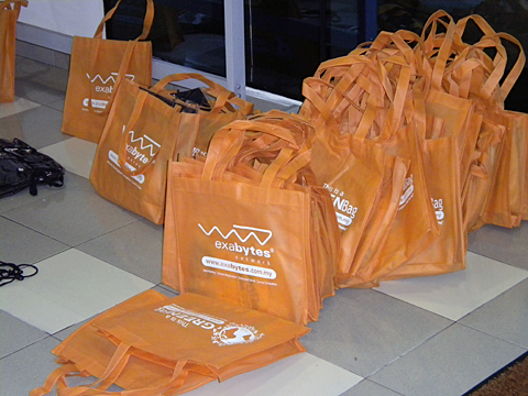 The goodies bags sponsored by Exabytes.